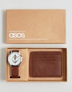 Набор из часов и кредитницы с якорем ASOS - Коричневый