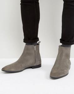 Серые замшевые ботинки челси на молниях ASOS - Серый