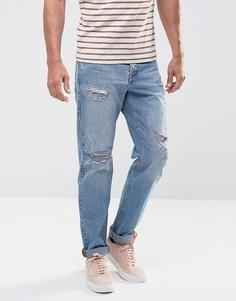 Синие узкие джинсы в винтажном стиле с рваной отделкой ASOS - Синий