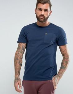 Темно-синяя узкая футболка с карманом Farah Fairway - Темно-синий