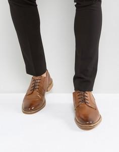 Светлло-коричневы кожаные туфли дерби с контрастными синими шнурками ASOS - Рыжий