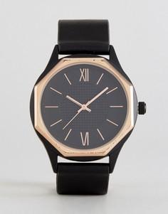 Часы с черным ремешком и шестигранным корпусом ASOS - Черный