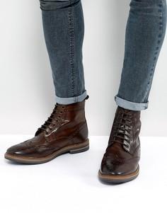 Коричневые кожаные ботинки броги Base London - Коричневый