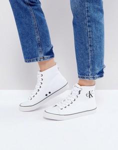 Белые высокие парусиновые кроссовки Calvin Klein Dolores - Белый