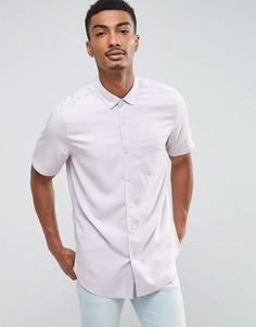 Лиловая рубашка стандартного кроя с эффектом кислотной стирки ASOS - Фиолетовый