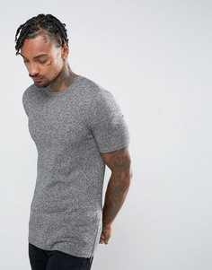 Черно-белая длинная обтягивающая футболка с молниями по бокам ASOS - Серый