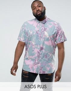 Рубашка классического кроя с принтом ASOS PLUS - Розовый