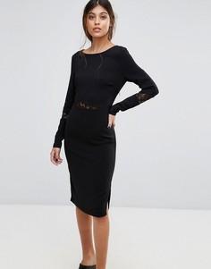 Облегающее платье с кружевными вставками Gestuz - Черный