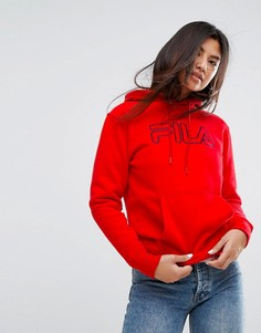 Худи бойфренда с логотипом Fila - Красный