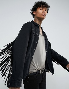 Джинсовая рубашка навыпуск с заклепками и бахромой ASOS FESTIVAL - Черный