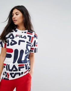 Оверсайз-футболка бойфренда со сплошным принтом логотипа Fila - Мульти