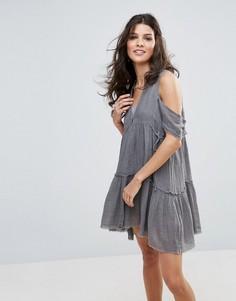 Платье с открытыми плечами Free People Gauze Indus - Серый