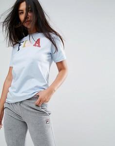 Оверсайз-футболка бойфренда с разноцветным логотипом Fila - Синий