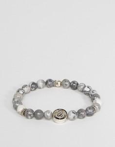 Серый браслет с отделкой бусинами с мраморным эффектом Icon Brand - Серый