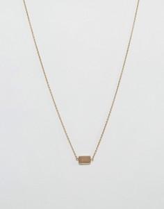 Золотистое ожерелье с рифленой подвеской Icon Brand - Золотой
