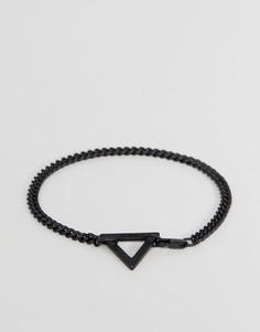 Черный браслет-цепочка с треугольником Icon Brand - Черный