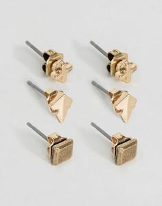 3 пары сережек-гвоздиков Icon Brand - Золотой