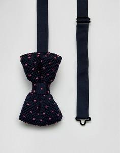 Трикотажный галстук-бабочка в горошек 7X - Темно-синий