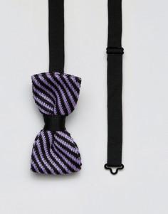 Трикотажный галстук-бабочка в полоску 7X - Фиолетовый