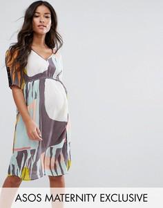 Свободное платье в горошек с V-образным вырезом ASOS Maternity - Мульти
