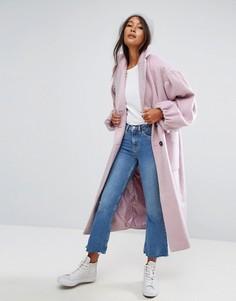 Пальто с эффектными рукавами ASOS - Розовый