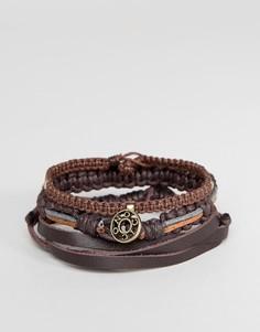 Набор из 3 коричневых плетеных браслетов Icon Brand - Коричневый