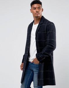 Темно-синее клетчатое пальто из ткани с добавлением шерсти ASOS - Темно-синий