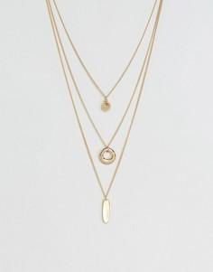 Ожерелье в несколько рядов с подвесками ASOS - Золотой