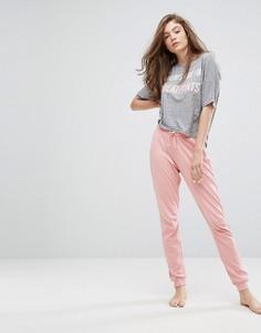 Пижама из топа с надписью Sundays и джоггеров New Look - Розовый