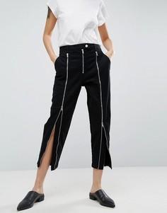 Черные джинсы с молниями ASOS WHITE - Черный