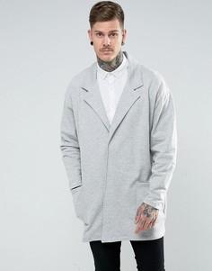 Серое легкое оверсайз-пальто удлиненного кроя из меланжевого трикотажа ASOS - Серый