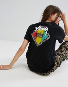 Оверсайз-футболка с принтом Stussy - Черный
