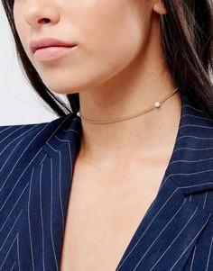 Ожерелье-чокер с искусственным жемчугом DesignB London - Золотой