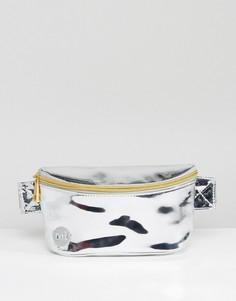 Серебристая сумка-кошелек на пояс Mi-Pac - Серебряный
