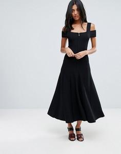 Платье миди с вырезами на плечах и двусторонней молнией To Be Adored Sabina - Черный