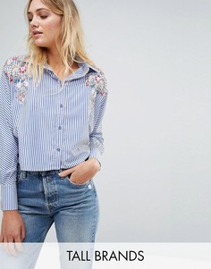 Укороченная рубашка с цветочной вышивкой Parisian Tall - Синий