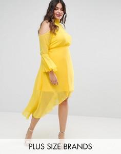 Платье миди с расклешенными рукавами Truly You - Желтый
