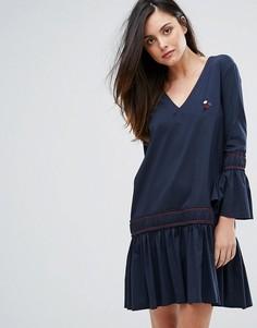 Платье А-силуэта с баской Ganni Norwich - Темно-синий