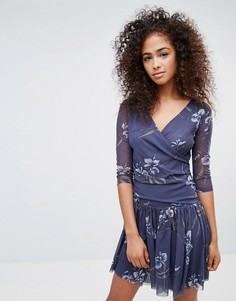 Платье с запахом спереди Ganni - Темно-синий