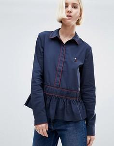 Рубашка с добавлением хлопка Ganni Norwich - Темно-синий