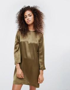 Атласное платье с цветочным принтом Ganni Sanders - Зеленый
