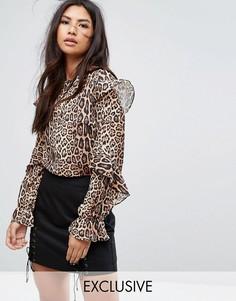 Блузка с леопардовым принтом и оборками Missguided - Мульти