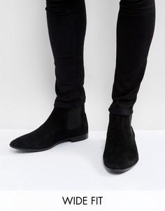 Черные замшевые ботинки челси для широкой стопы ASOS - Черный