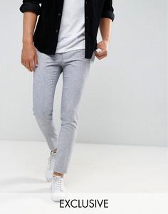 Супероблегающие строгие брюки из эластичного твида Heart & Dagger - Синий