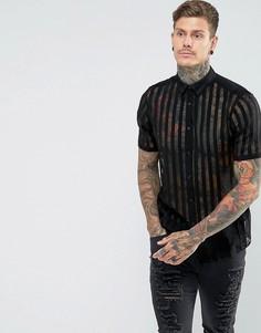 Вискозная рубашка классического кроя в полоску ASOS - Черный