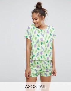 Пижамный комплект с принтом кактуса ASOS TALL - Мульти