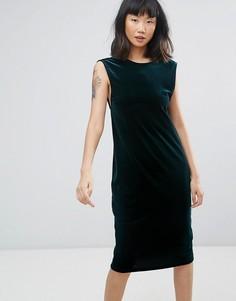 Велюровое платье миди Moss Copenhagen - Зеленый