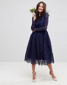 Кружевное платье миди для выпускного с длинными рукавами ASOS WEDDING - Темно-синий