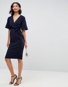 Платье миди с запахом на лифе и завязкой на поясе ASOS - Темно-синий