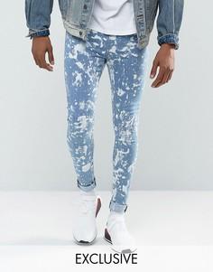 Синие выбеленные джинсы скинни Jaded London - Синий